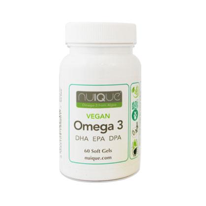 nuIQue Vegan Omega 3, DHA, EPA, DPA Soft Gels. Sustainable Algae Oil Omega 3