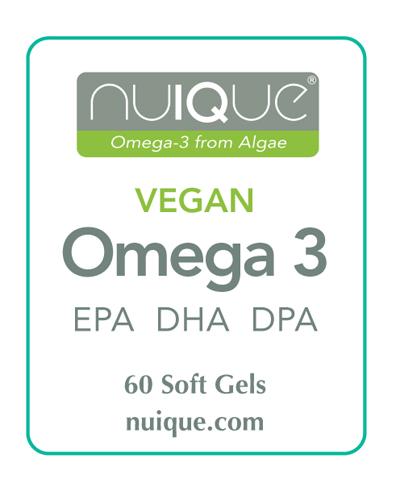 nuIQue Vegan Omega 3 label