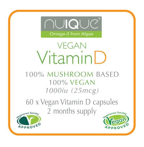 nuIQue Vegan Vitamin D with VitaShroom label