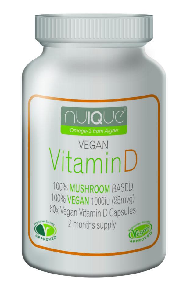 nuIQue Vegan Vitamin D with VitaShroom bottle